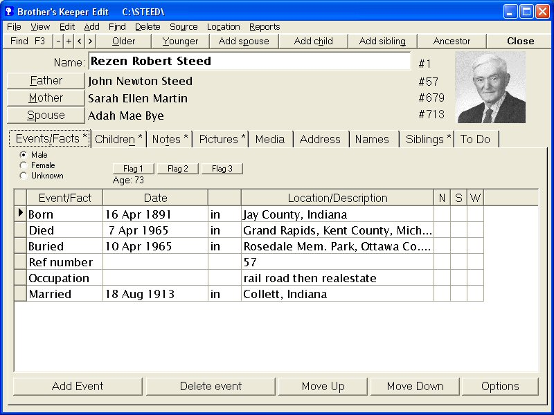 brothers keeper genealogy program sample reports
